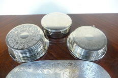 silver plated coasters for glasses or cups