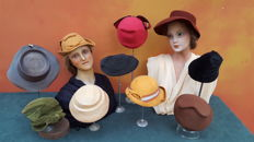 Collection of thirty vintage ladies hats, period years 30-60 years - France - including Christian et Suzy Paris