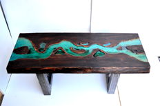 Industrial coffee table handmade of old wood and resin M. Pawlik
