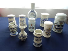 Collection of 10 original pharmacist pots