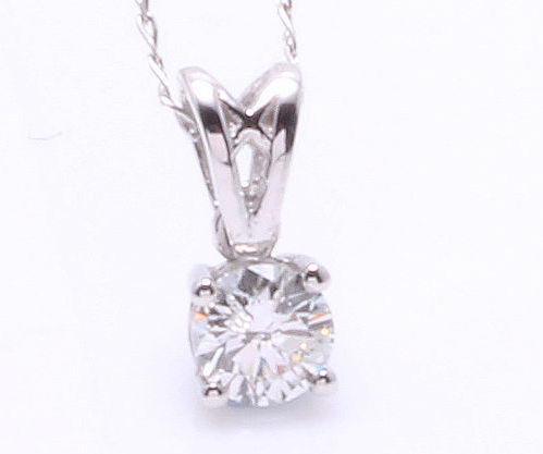 Solitaire pendant with 1 brilliant cut diamond of 0.32 ct ***No reserve price***