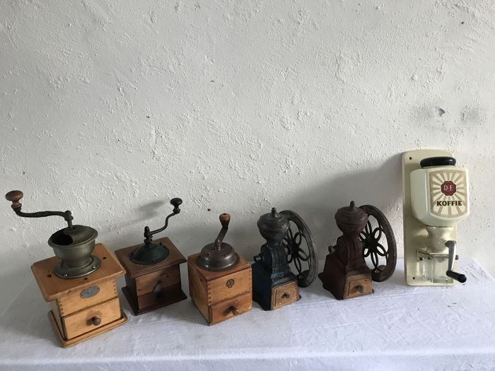 A lot of six coffee grinders