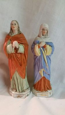 2 porcelain statue - depiction Mary + Mary Magdalene - 19th century