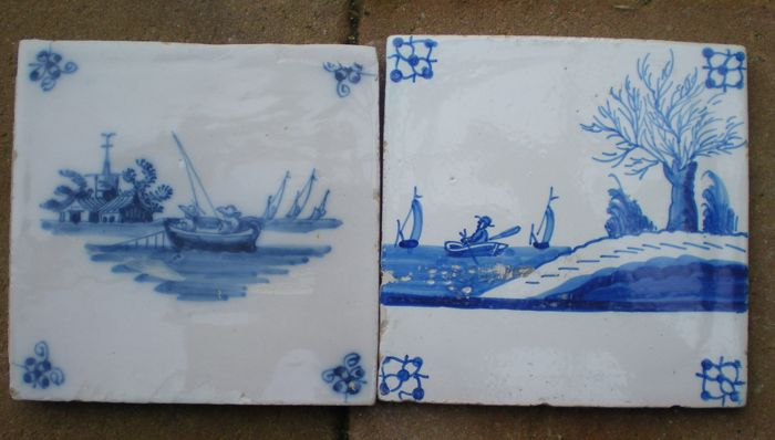 Lot with 2 antique tiles with a special depiction of fishermen