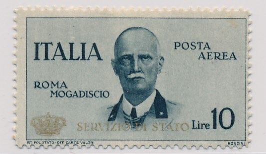 "Italy 1934 - ""mail flight Rome Mogadishu, official stamp 10 Lire"", Sass. N. PA 2"