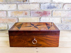 A Georgian mahogany and specimen wood table box - England - circa 1820