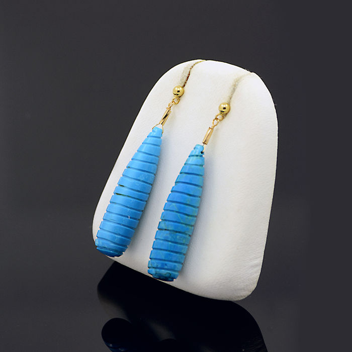 18kt/750 yellow gold earrings with turquoises – Length 45 mm.