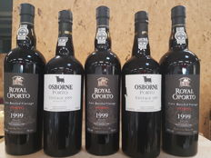 2x 1995 Vintage Port Osborne & 3x 1999 Late Bottled Vintage Port Royal Oporto - 5 bottles in total