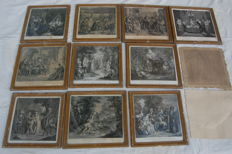 12 prints of Don Quixote and Sancho Panza by several engravers - 18th century
