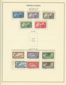 Italian Colonies - 1931 - 1935 - collection with Tripolitania and Somaliland on albums sheets with zeppelin set from 1933