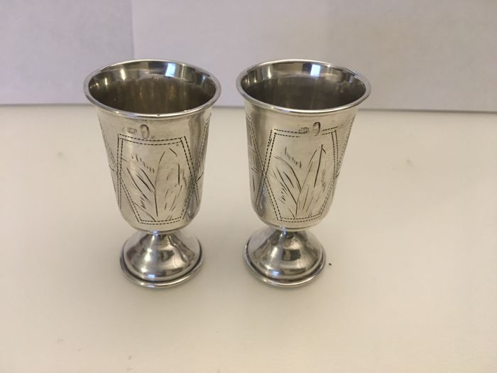 Ornate Vintage Pair Of imperial Russian 84 silver engraved judaica Kidush cups. 1850/1899  Makers initials- T.P