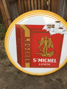 Enamelled plate for St Michel cigarettes