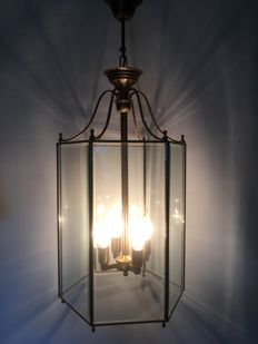 Very large Brass Lantern lamp with bevelled panes and four candles, 20th century, France