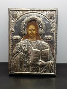 Icon silver/hand-painted holy image - 19th century