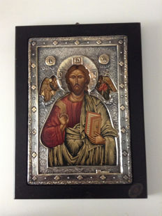 Silver icon 950/1000   - CHRIST PANTOCRATOR / Greece 2nd half of 20th century