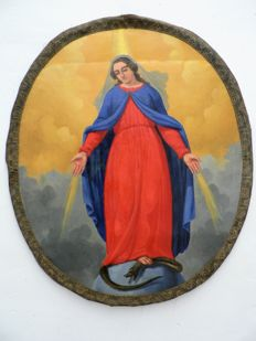 "Painting ""The Immaculate Conception"", oil on canvas - Flanders (Belgium) - 18th - 19th century"