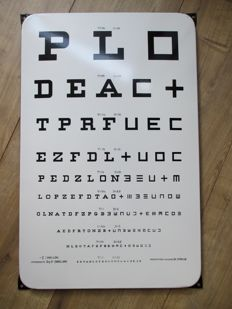 Enamel sign eye test card Dr. Staub - 1940s/50s