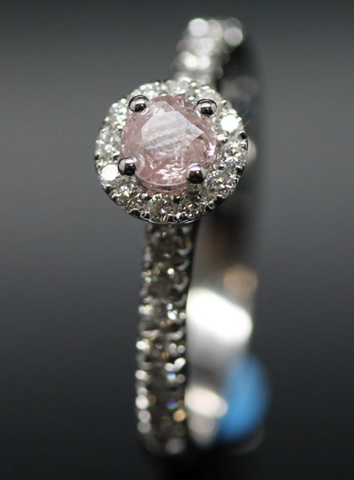 18K Pink Diamond ring, 0.60 ct with Official certificate - Ring size 54/17.25 mm  - NO RESERVE