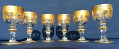 Antique and rare set of 6 crystal stem glasses by Baccarat Harcourt Empire - France, C. 1841