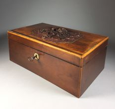 Walnut craft chest with floral carving - France - 2nd half of 19th century
