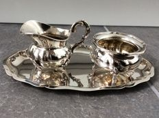 Milk and sugar jug with under plate 925 silver handmade