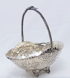 Bowl - Sterling Silver - Decorative Handle - Nuran - Turkey - ca. 1950's
