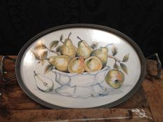 Tray with tin edge signed and hand painted earthenware tile