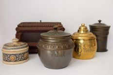 Tobacco jars and box