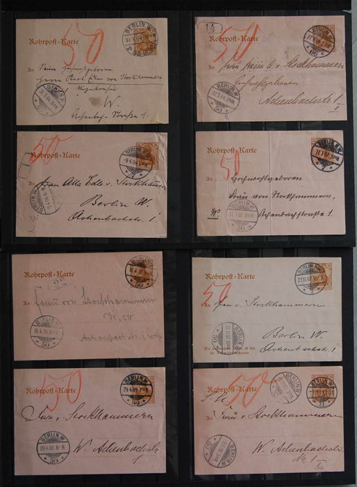 German Reich 1900/1 pneumatic postcards 8 pieces - RP 10 and RP 12