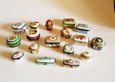 Lot of 17 hand painted fine porcelain boxes