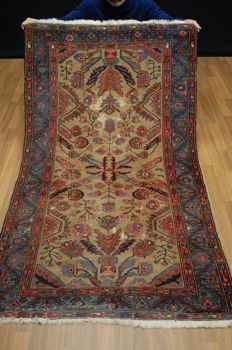 Wonderful Antique Persian Malayer Hand Made Wool Oriental Rug ca:190x104cm