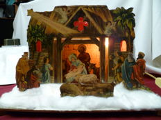 Beautiful Christmas Nativity scene with lighting