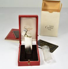 Silver plated Cartier lighter with diamond point engraving, new