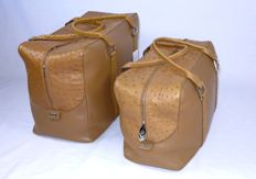 Bangu - Set of travel suitcases made of genuine ostrich leather