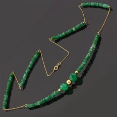 18k/750 yellow gold necklace with emeralds – Length 53 cm