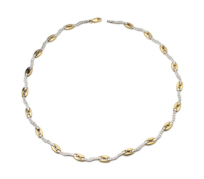 Choker - Ladies - Yellow and white gold - Zirconias  45 cm