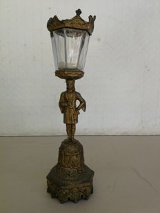 Antique golden antimony candlestick with glass protection and glass lampshade, ca. 1900