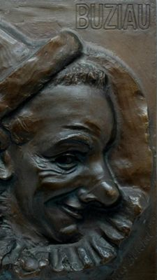 Clown Buziau - high relief in lost wax bronze - dated in 1928