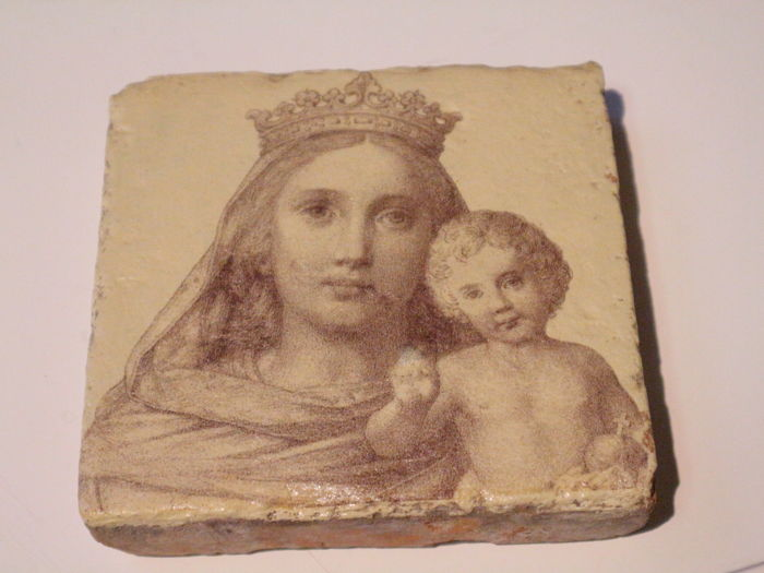 Antique French stone image Madonna with child