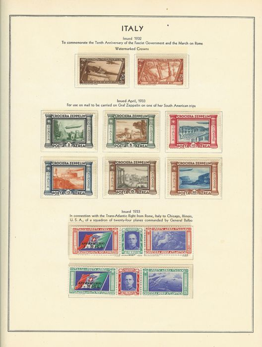 Italy - 1911–1948 - Advanced and almost complete collection on Scott album sheets with trans-Atlantic flight, Sassone S1509K