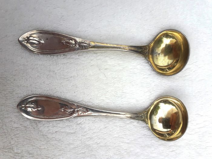 """Tiffany, Young & Ellis"" Sterling Silver mustard spoons, Olive pattern, ca 1850"