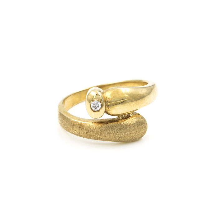 Yellow gold, 18 kt - Cocktail ring - Diamond, 0.10 ct - Cocktail ring size 14 (Spain)