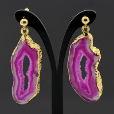 18k/750 yellow gold earrings with two druzy agates - Length, 42.5 mm.