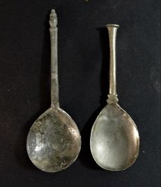 Two pewter spoons including turret spoon - L 145 mm and 160 mm