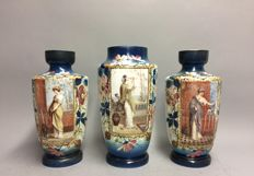 Set of opaline vases with beautiful decor, three pieces