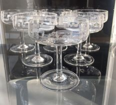 Lot consisting of 6 fine crystal champagne glasses