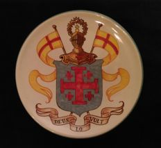Coat of Arms of the Equestrian Order of the Holy Sepulchre of Jerusalem - Hand painted ceramics