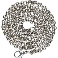 14 kt - White gold Jasseron link necklace - Length: 45 cm