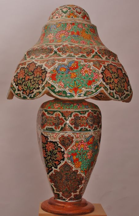 Large Format, Hand Painted Table Lamp Made Of Camel Skin.