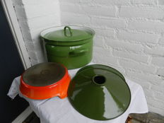 Large reseda green enamel pan, Creuset cast iron baking dish and 2 green enamel lamp shades